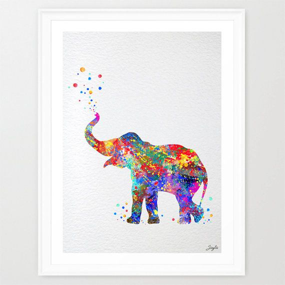 570x570 Baby Elephant Trunk Up Watercolor Illustration Art Print,Wall Art