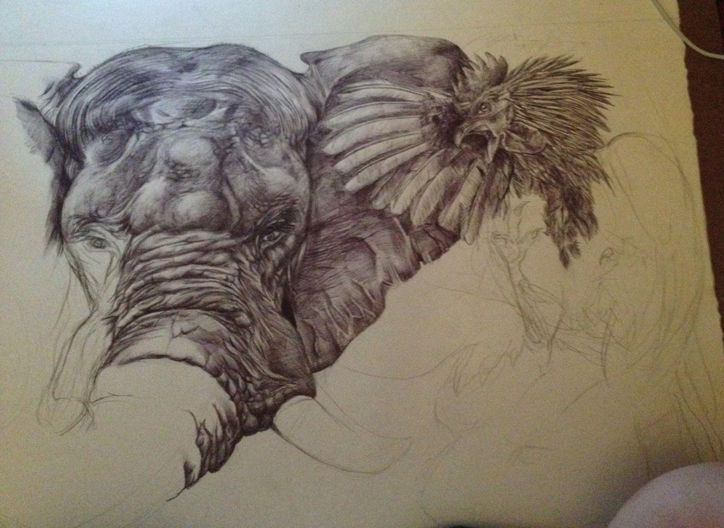 1423x1039 Elephant Drawing Trunk Up Eating Elephants