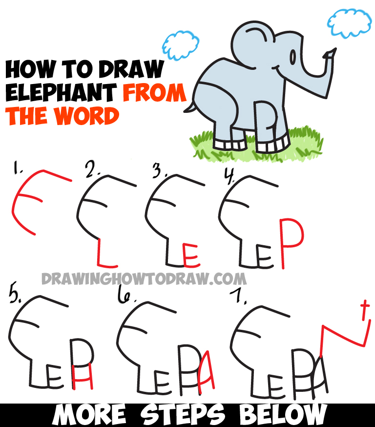 768x874 How To Draw Cartoon Elephants From The Word Elephant