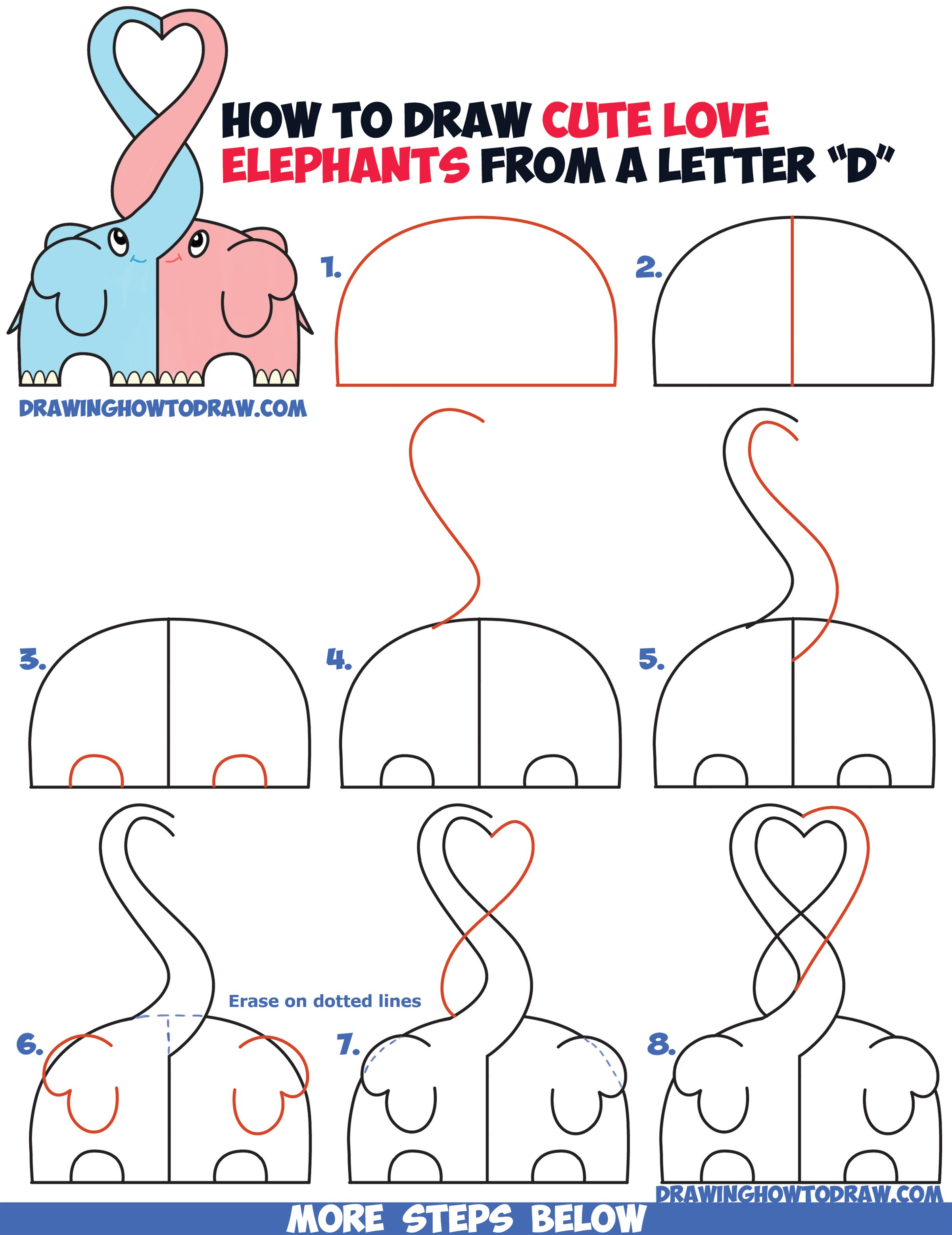 2400x3115 How To Draw Cute Kawaii Chibi Elephants In Love Forming A Heart