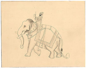 300x239 Antique Indian Drawing Elephant Mahout Ankusa Anonymous Ca. 1920