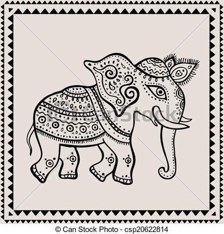 450x470 Ethnic Elephant. Indian Style. Ethnic Elephant. Hand Drawn