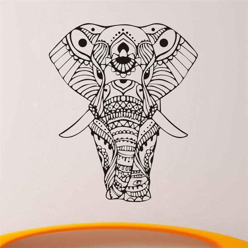 801x801 Mandala Indian Elephant Wall Stickers