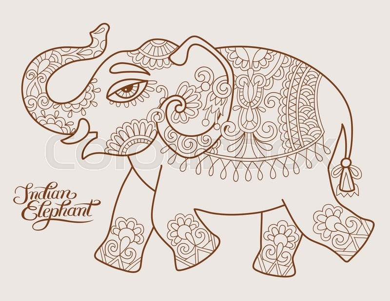 800x618 Original Stylized Ethnic Indian Elephant Pattern Drawing And Hand