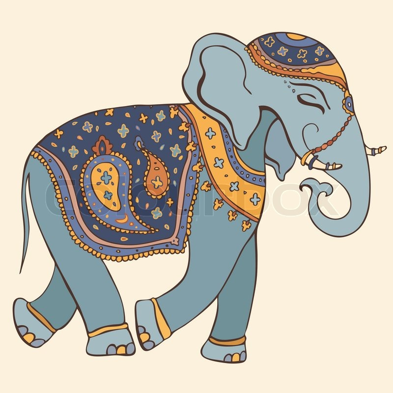 800x800 Vector Illustration Of An Elephant Indian Style Stock Vector