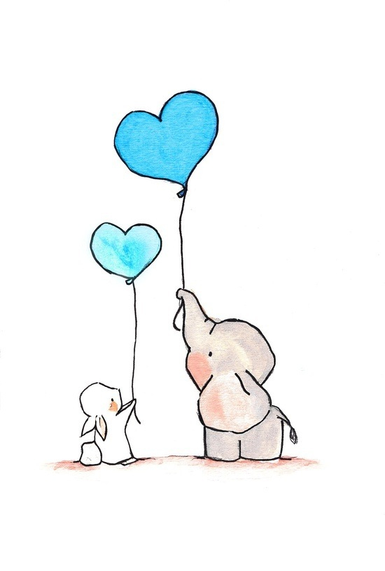 550x816 Elephant And Bunny With Heart Balloons ~lt3 { Cute Illustrations