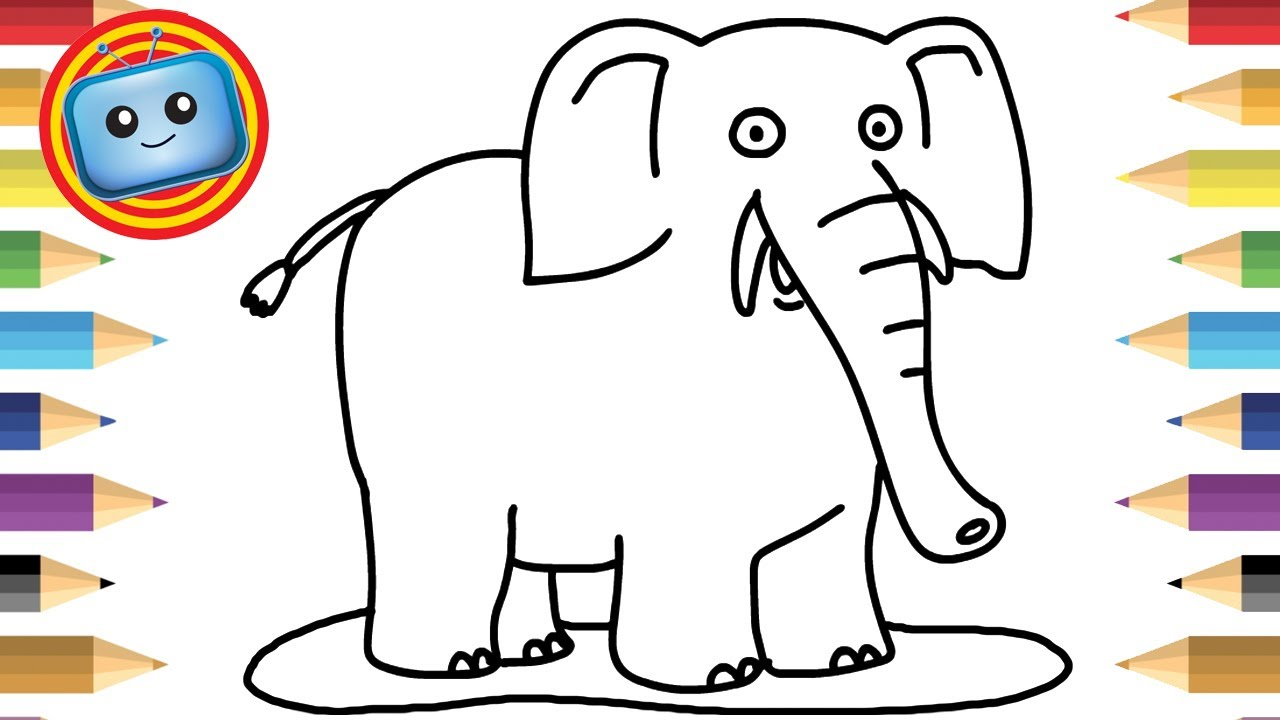 1280x720 How To Draw An Elephant Colouring Book Simple Drawing Game