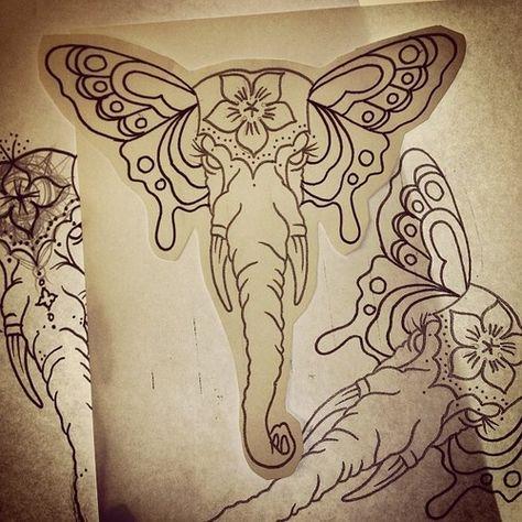 474x474 Elephant Skull Drawing Tattoo