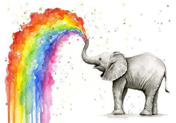 570x401 Elephant Nursery, Elephant Art, Baby Elephant Spraying Rainbow