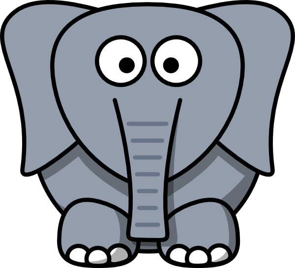 Cute Shadow Elephant Face Cartoon Vector Image