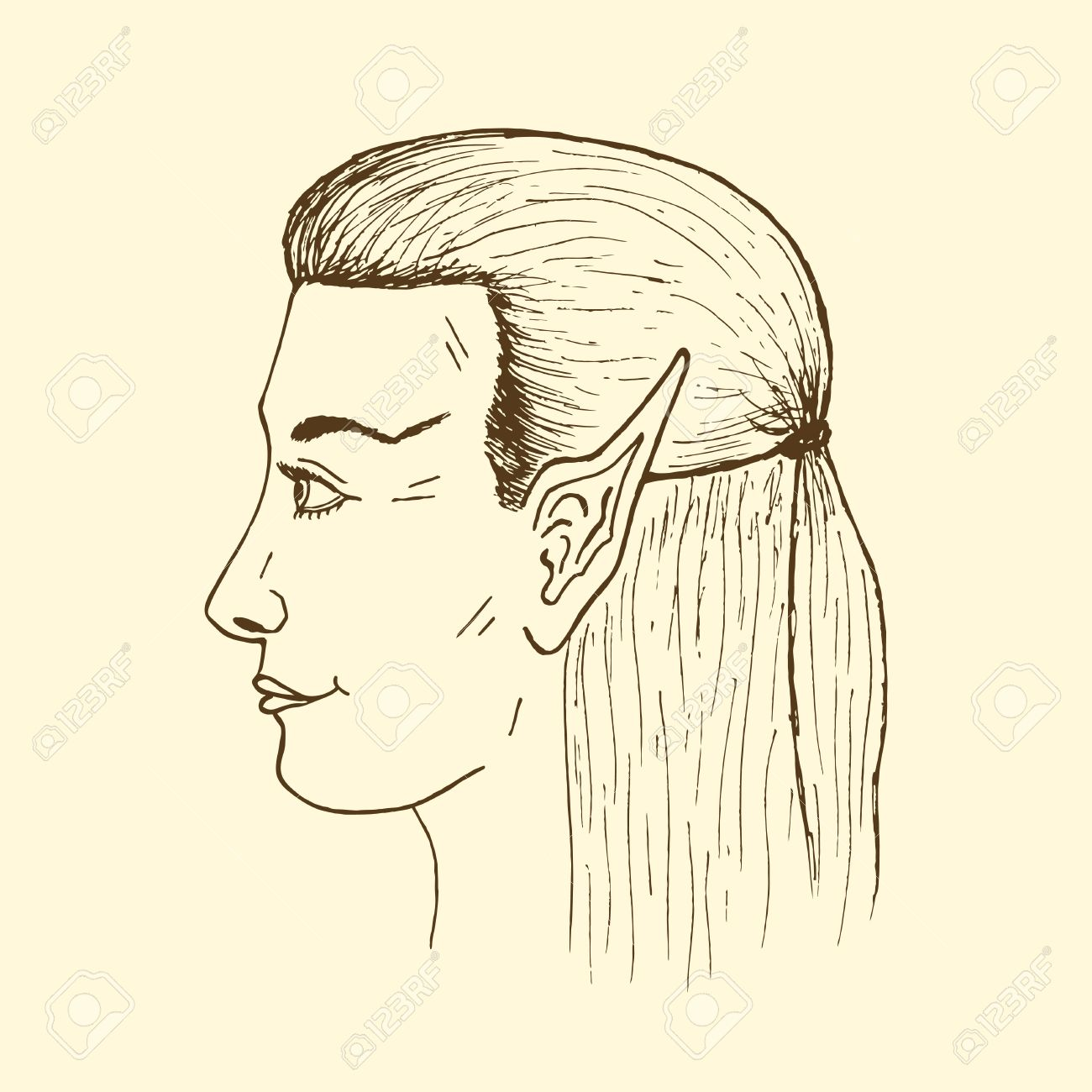 1300x1300 Profile Of A Young Elf. Vector Hand Drawing Elf's Face. Royalty