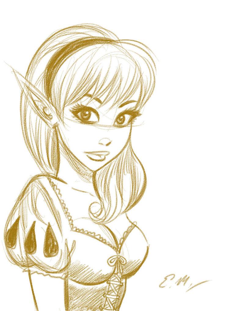 786x1017 Elf Girl Sketch By Em Scribbles