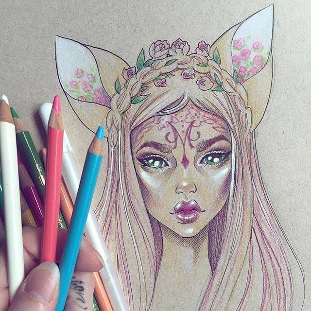 640x640 Elf Girl Drawing In Coloured Pencils Sketch
