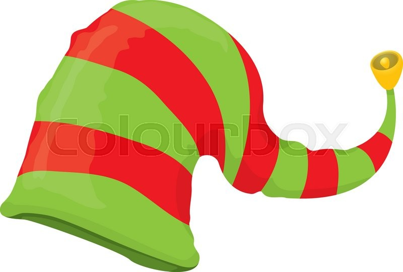 800x540 Cartoon Green Christmas Elf Hat. Vector Illustration Stock
