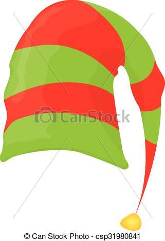 321x470 Cartoon Green Christmas Elf Hat. Vector Illustration Eps Vector