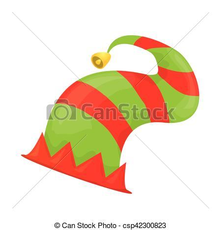 450x470 Cartoon Green Christmas Elf Hat. Vector Illustration Vector