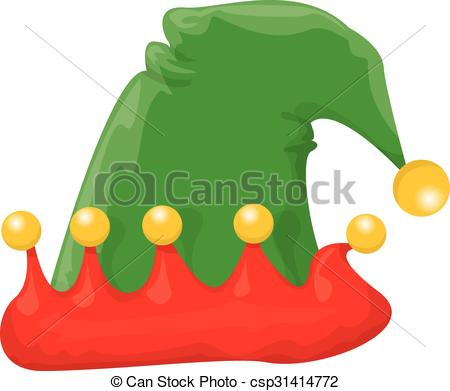 450x391 Cartoon Green Christmas Elf Hat. Vector Illustration Vectors
