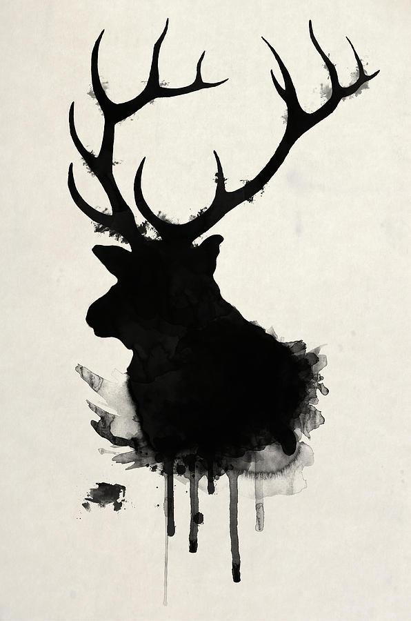 596x900 Elk Drawing by Nicklas Gustafsson