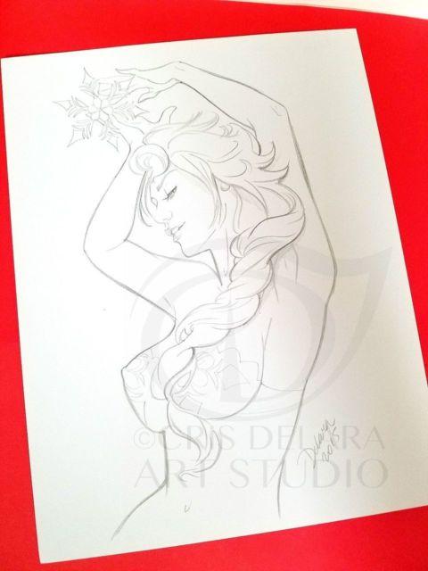 480x640 Original Bampw Art Drawing Elsa Frozen Cris Delara Ebay