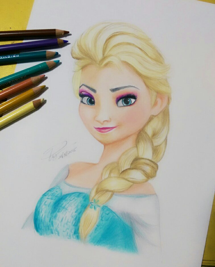 756x938 color pencil drawing of elsa frozen by iicepink on deviantart