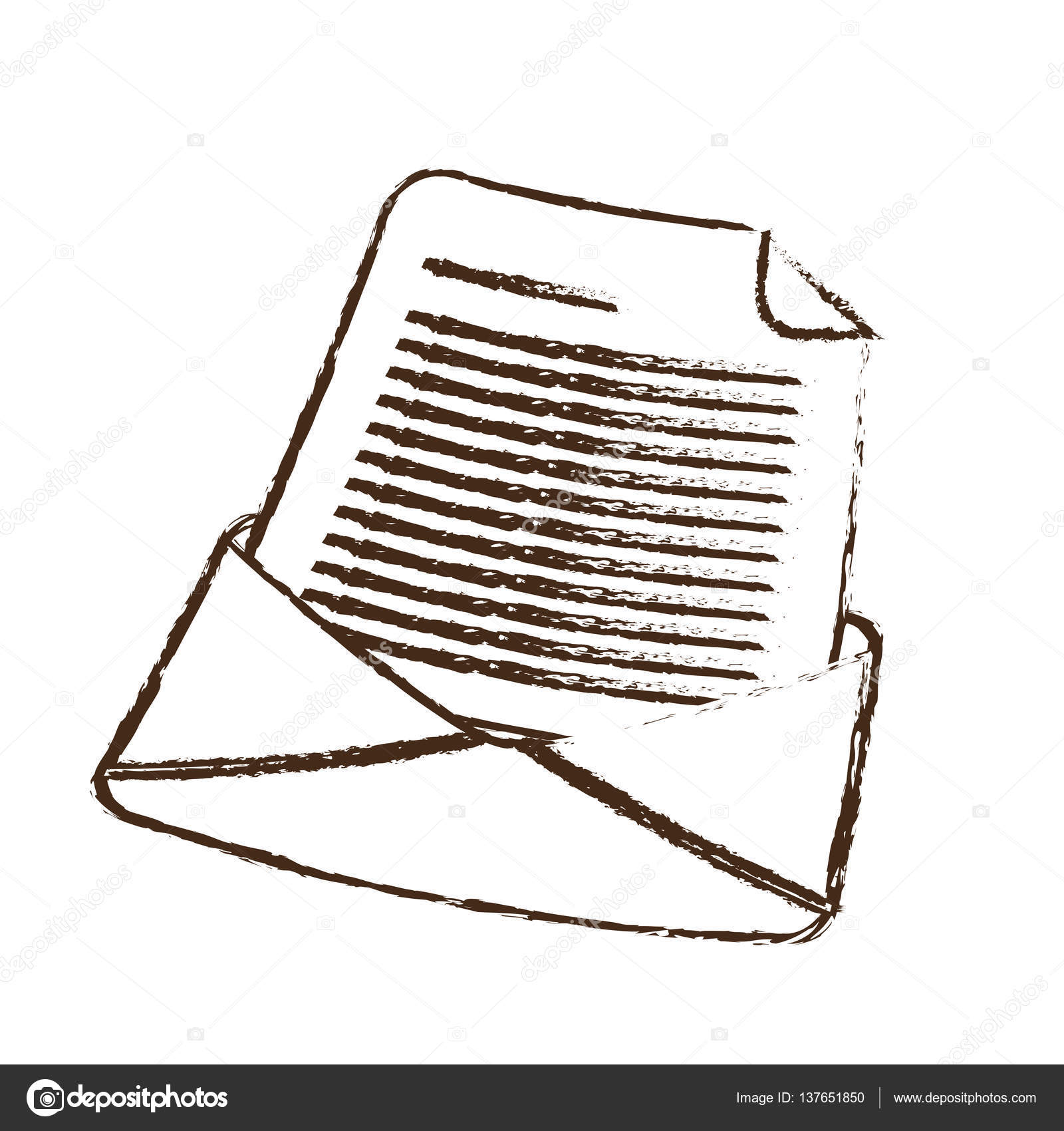 1600x1700 Sketch Draw Email Envelope Message Letter Stock Vector Djv