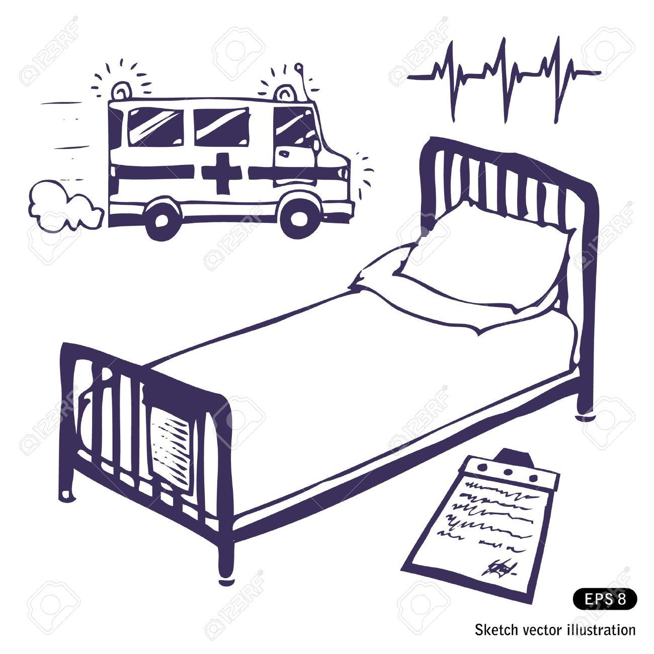 1300x1300 Hospital Bed And Ambulance. Hand Drawn Illustration On White