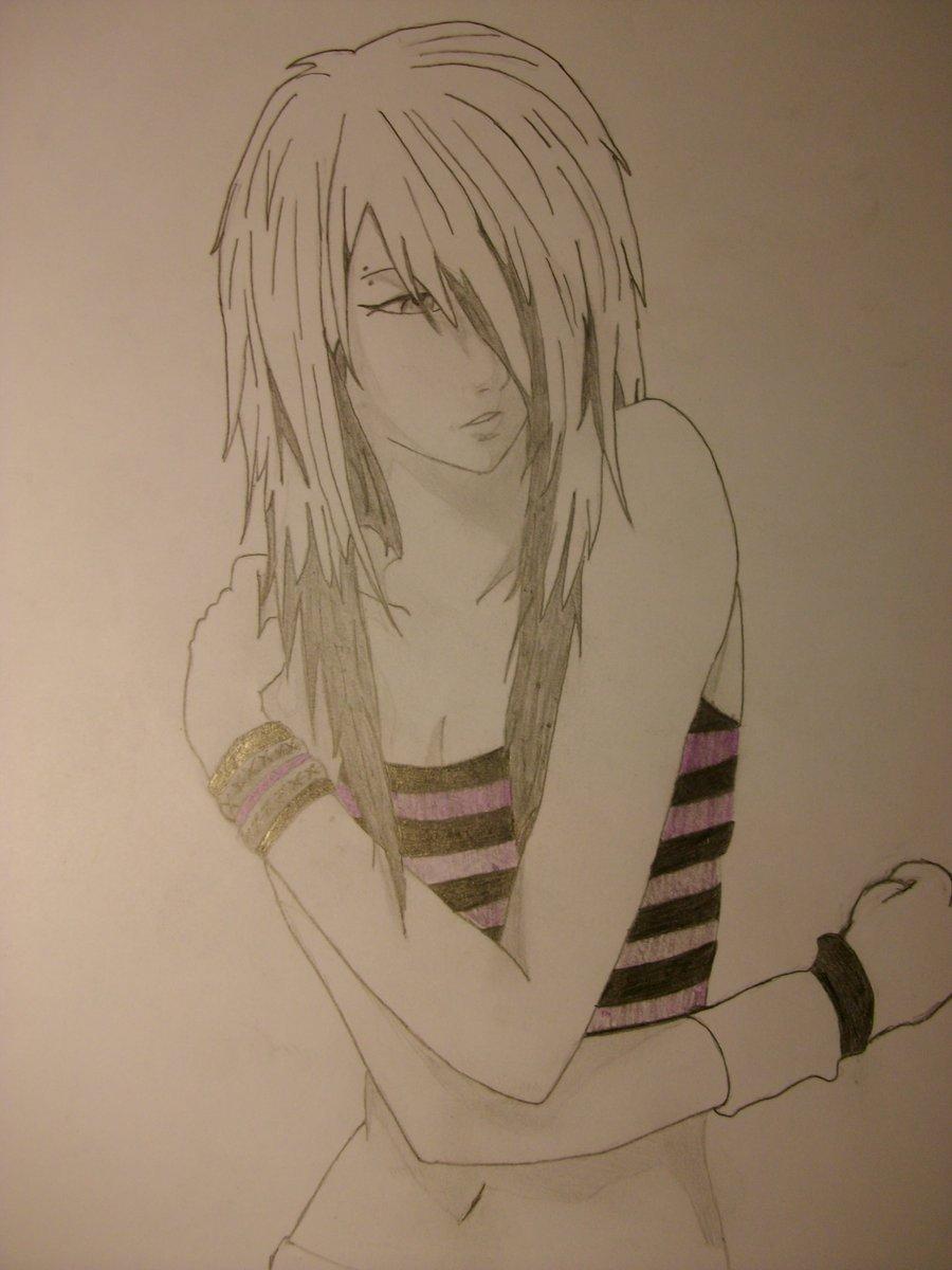 900x1200 Anime Emo Girl Drawing A Drawing Of An Emo Anime Girl Drawing