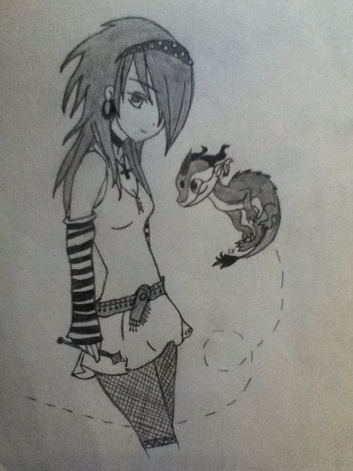 720x960 Emo Girl With Dragon Friend By Lizzywolffire6