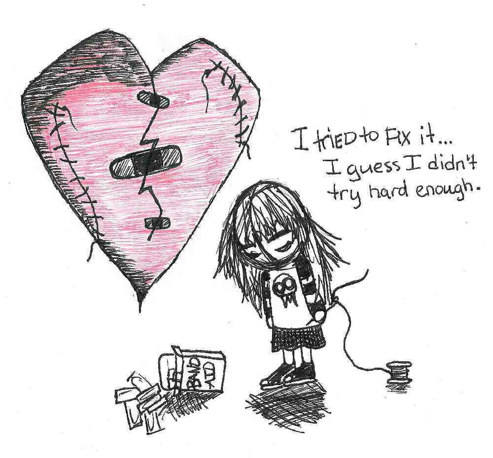 Emo Heart Drawing At Getdrawings Com Free For Personal Use Emo