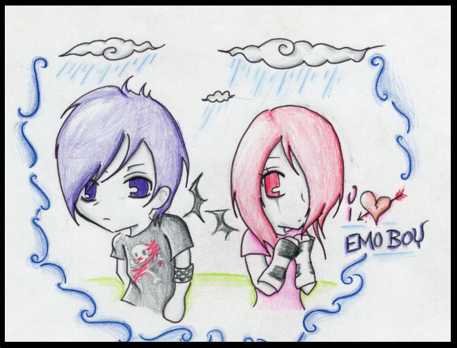 662x504 Emo Love Heart Drawing By Sxysam