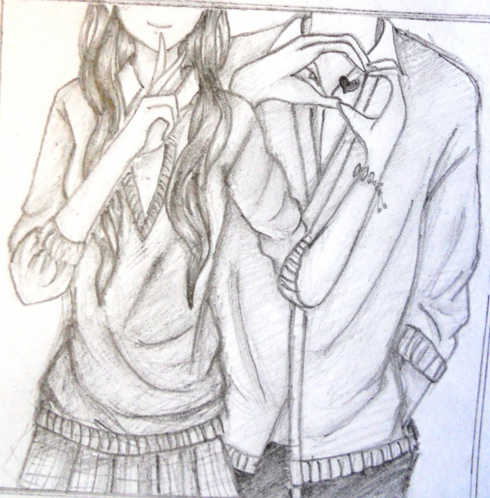 1007x1024 Cute Emo Love Drawings In Pencil Best Couple Drawing In Pencil