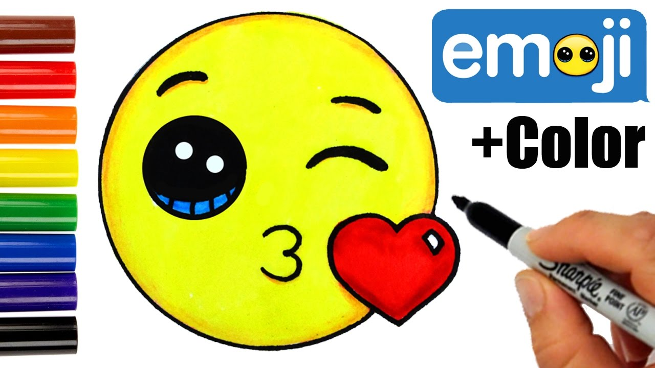 1280x720 How To Draw + Color Kissing Emoji Step By Step Super Easy Cute