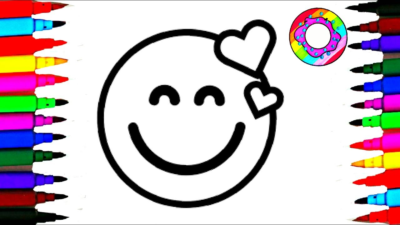 1280x720 Coloring Pages Emoji L Kids Drawing Emoticons Faces Happy Laughing