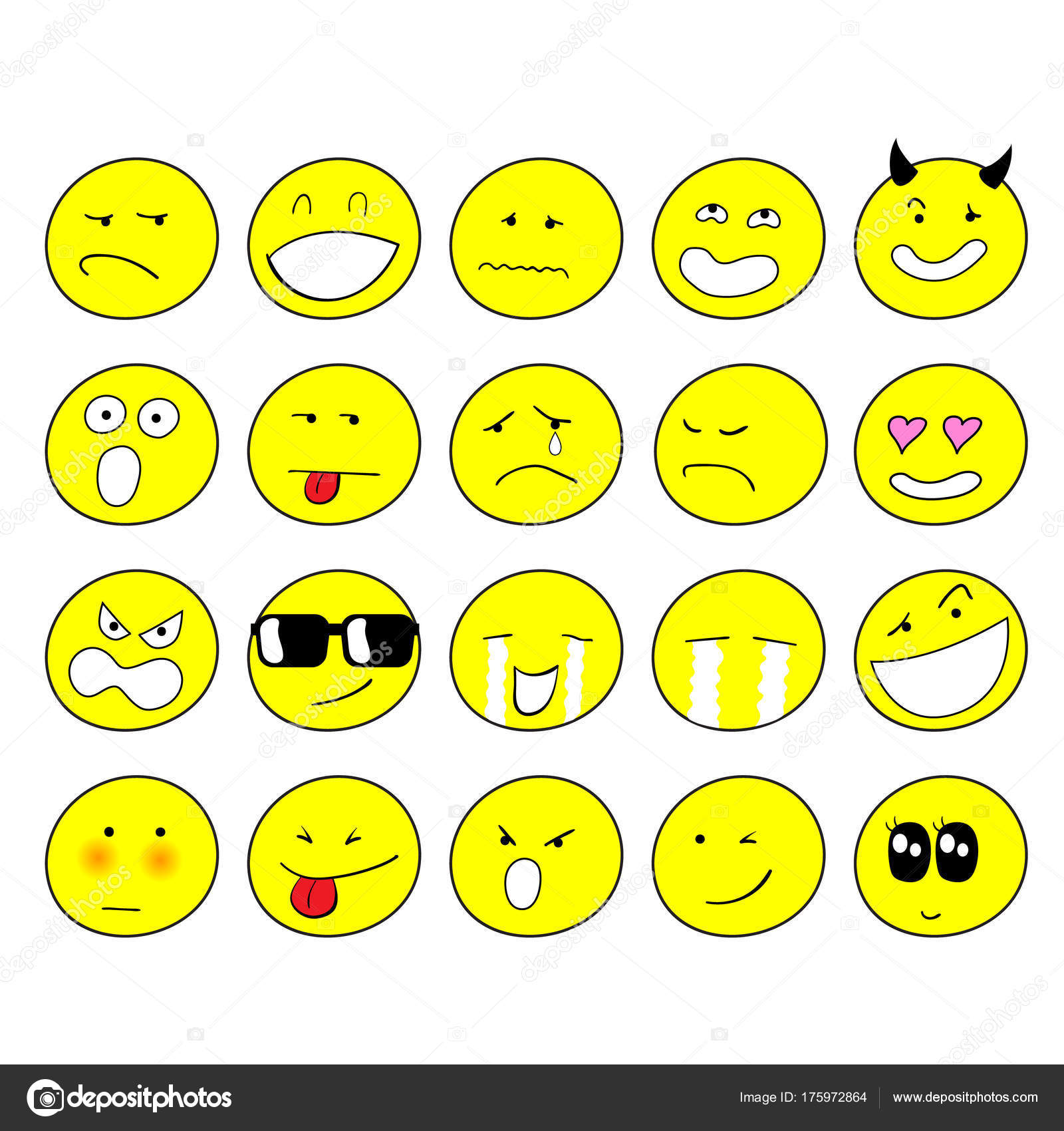 1600x1700 Set Emoticons Set Hand Free Drawing Style Emoji Stock Vector