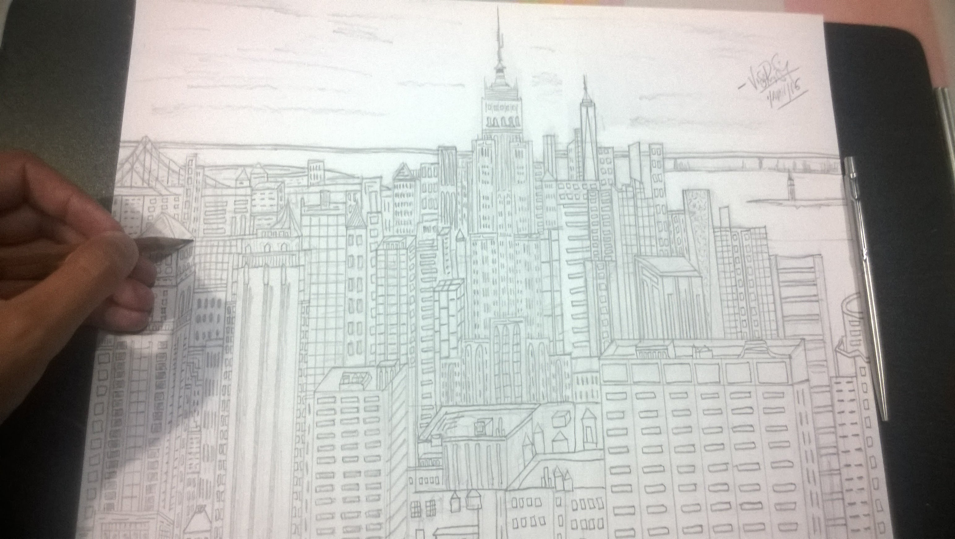 3088x1744 Drawing Empire State Building