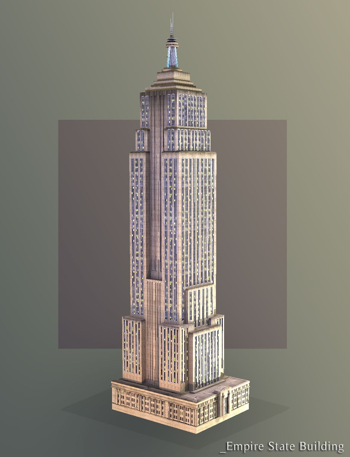 1159x1515 Empire State Building Drawing