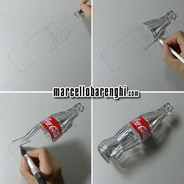 600x600 3d Art, Drawing An Empty Glass Bottle Of Coca Cola