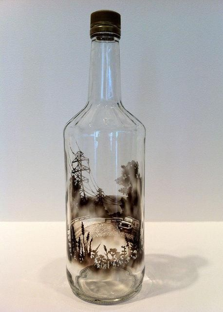 458x639 Artist Fills Bottles With Smoke And Brushes It Away To Create