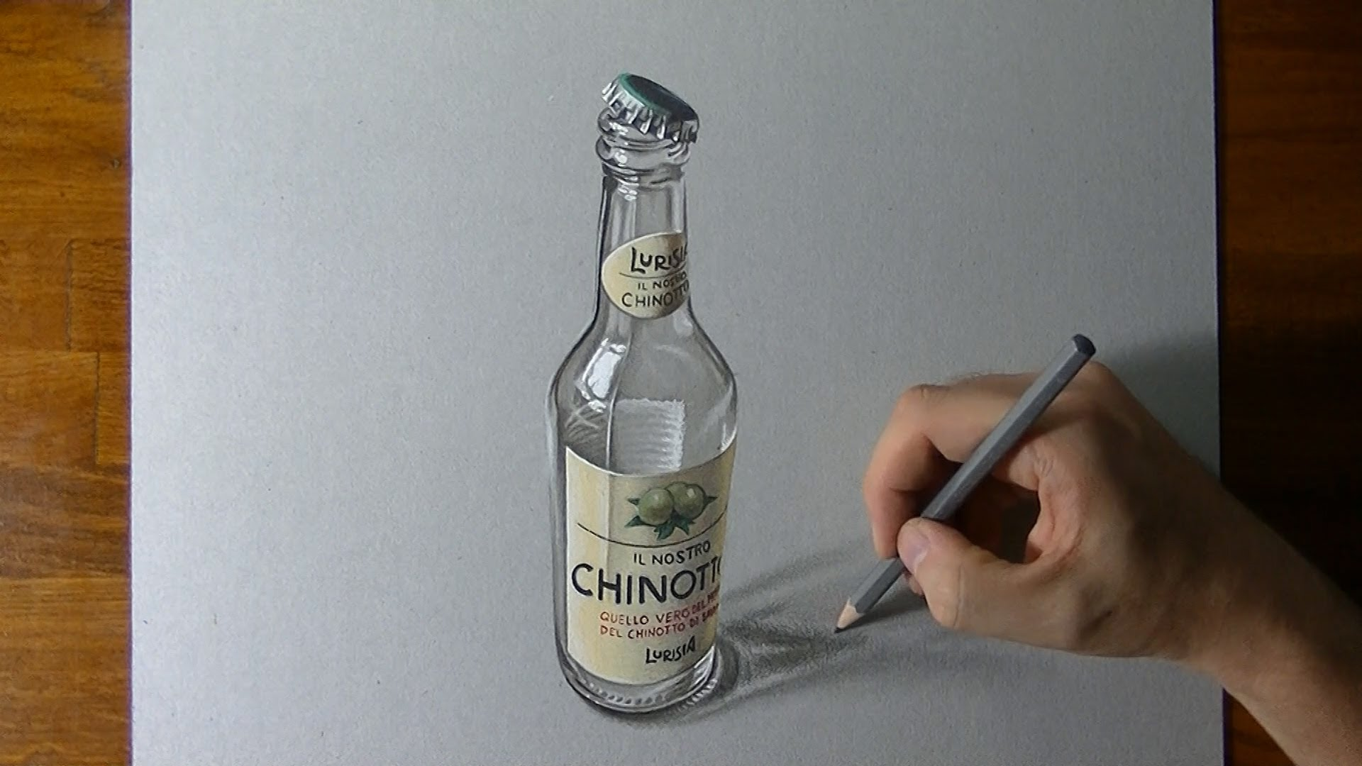 1920x1080 Drawing Time Lapse An Empty Bottle Of Chinotto