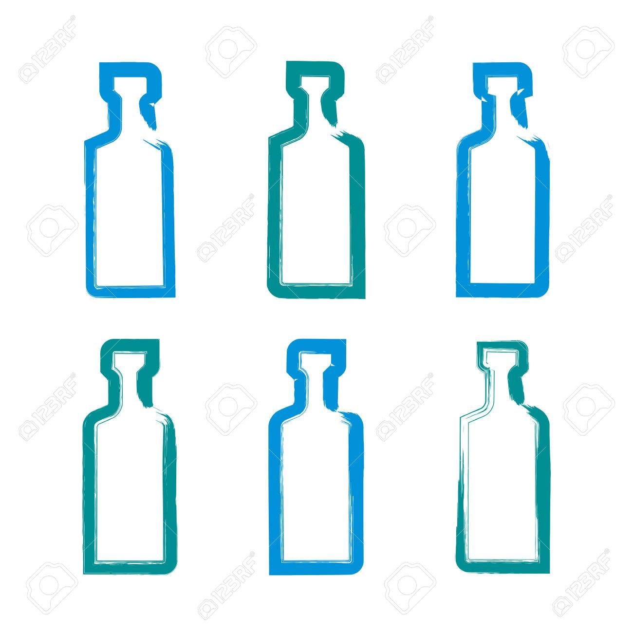 1300x1300 Set Of Hand Drawn Simple Empty Bottles Of Tequila, Collection