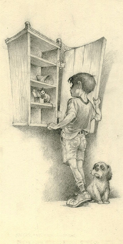 405x800 Child And Empty Food Cabinet Drawing By Sandy Plunkett