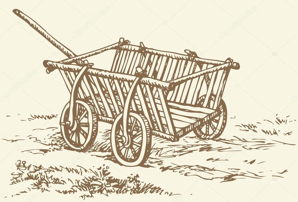 1023x694 Vector Drawing. Archaic Wooden Empty Cart Stock Vector Marinka
