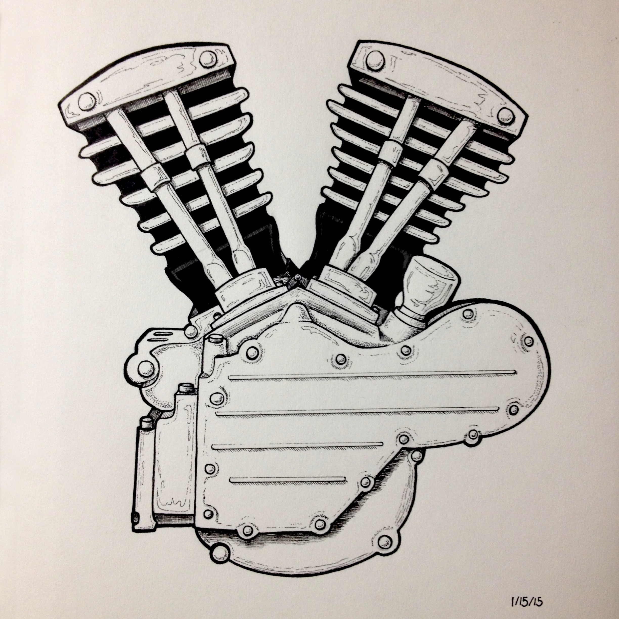 2448x2448 Motorcycle Engine Sketch Drawing
