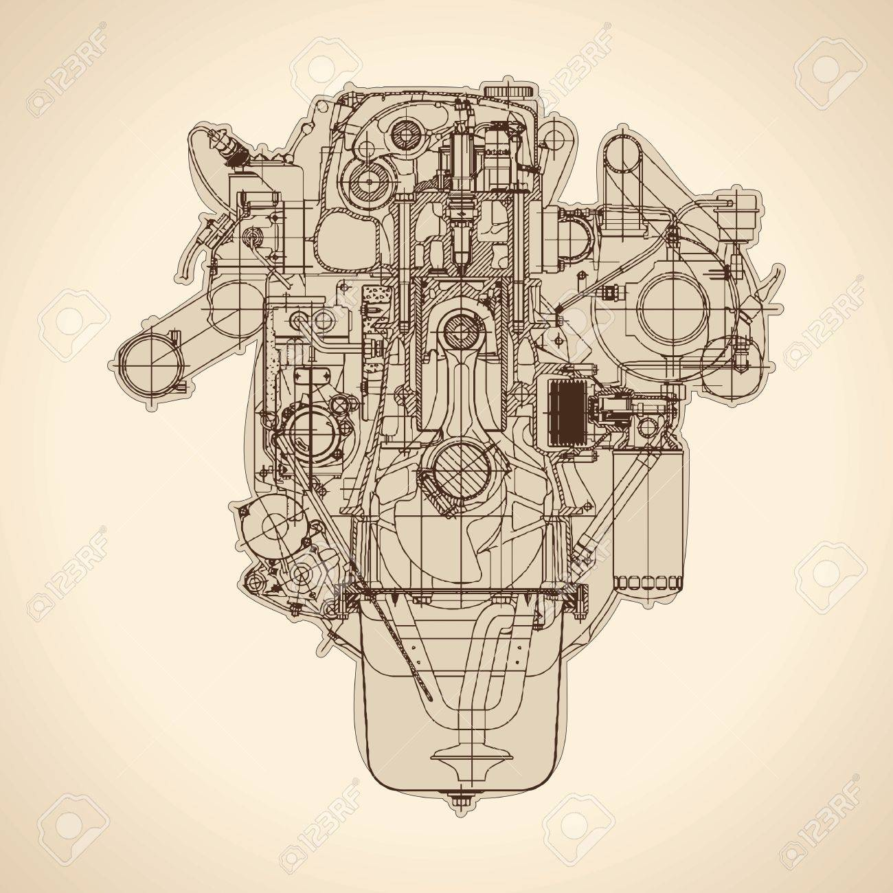 1300x1300 Old Internal Combustion Engine, Drawing. Royalty Free Cliparts