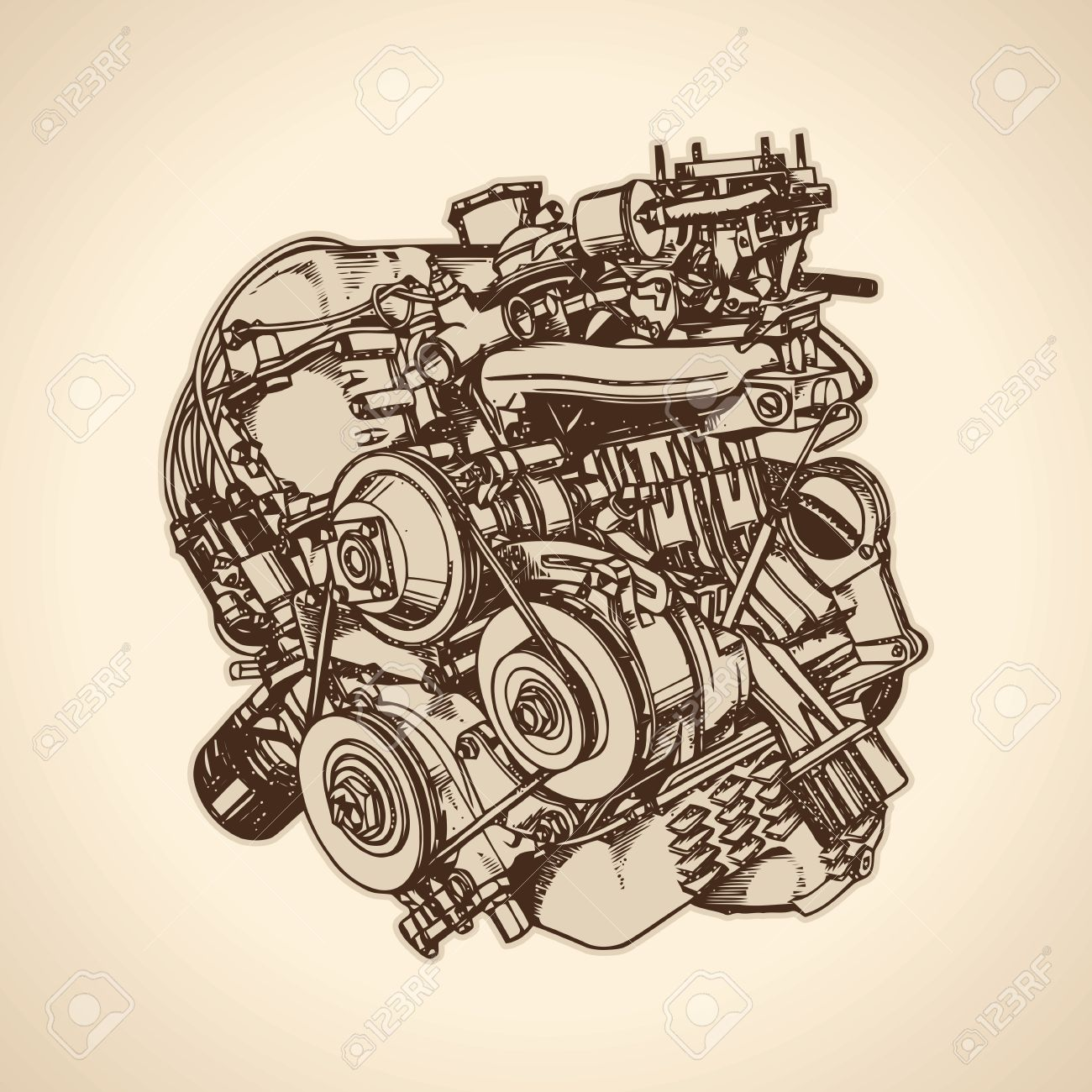 1300x1300 Old Internal Combustion Engine, Drawing. Vector Royalty Free