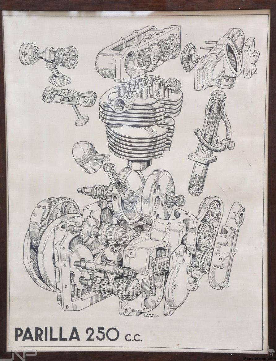 892x1168 Parilla 1965 Dohc 250cc Engine Drawing
