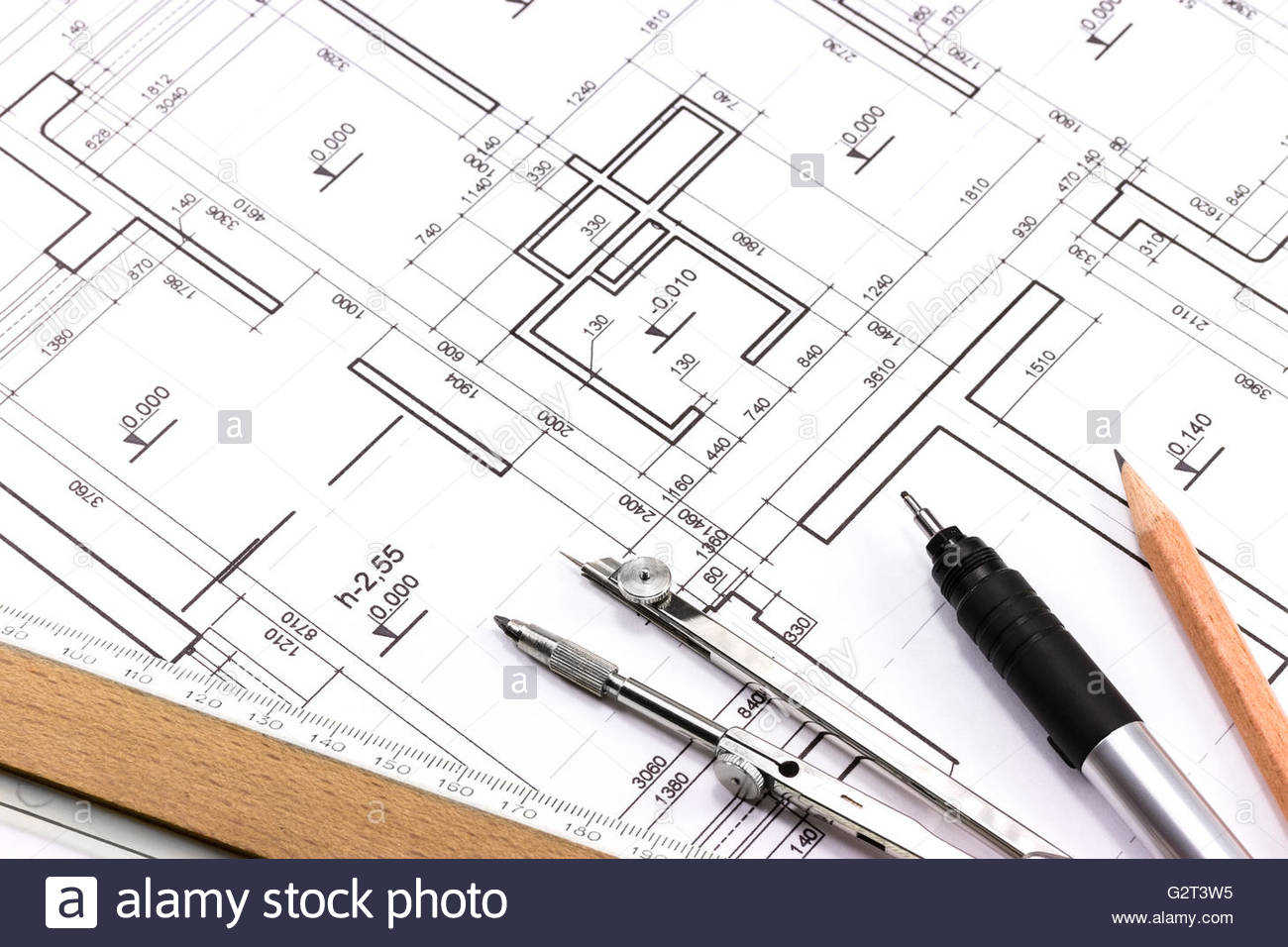 1300x956 Architectural Background With Technical Drawings And Work Tools