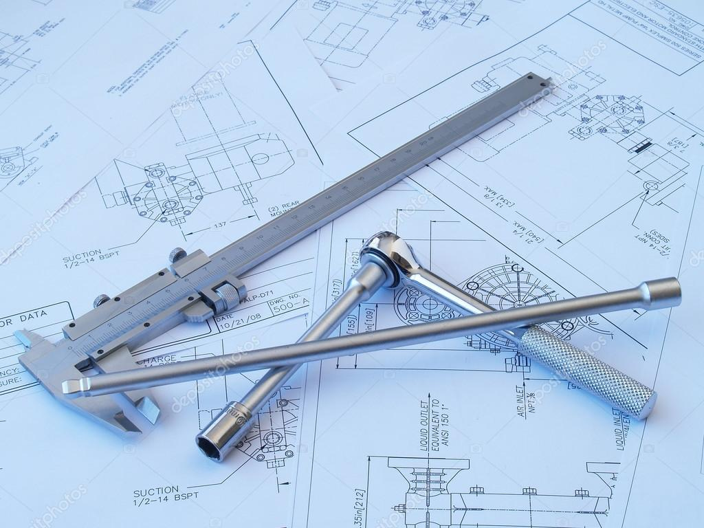 1024x768 Engineering Tools On Technical Drawing Stock Photo Injenera