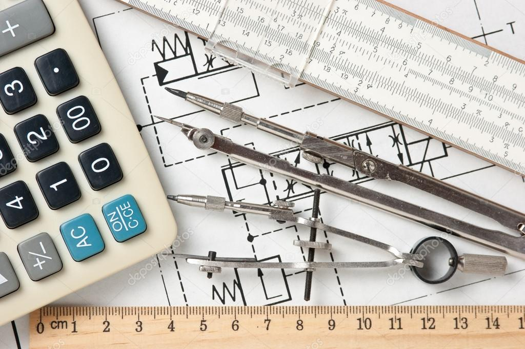 1024x681 Engineering Tools On Technical Drawing Stock Photo Observer