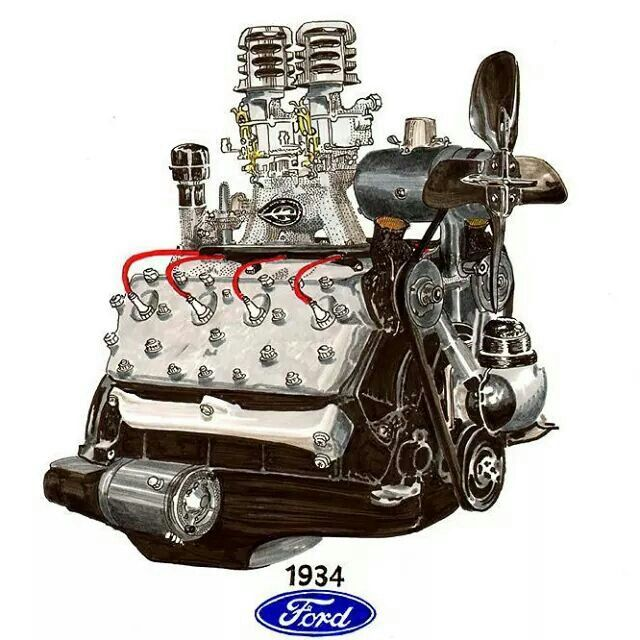 640x640 Cool Drawing. Flathead V8 Drawings, Engine And Ford